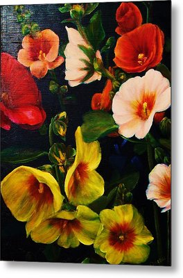 Hollyhocks Metal Print by Dana Redfern