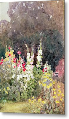 Hollyhocks Metal Print by Helen Allingham