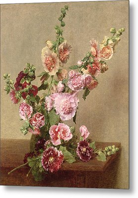 Hollyhocks Metal Print by Ignace Henri Jean Fantin Latour