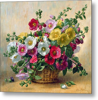 Hollyhocks In A Basket Metal Print by Albert Williams