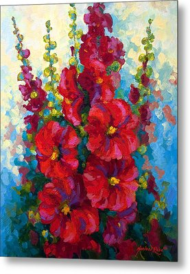 Hollyhocks Metal Print by Marion Rose