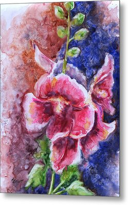 Hollyhocks Metal Print by Marsha Elliott