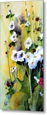 Metal Print featuring the painting Hollyhocks by Marti Green