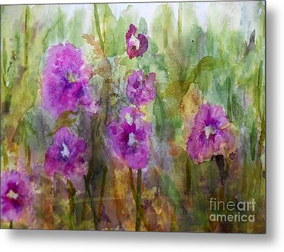 Hollyhocks Metal Print by Vicki  Housel