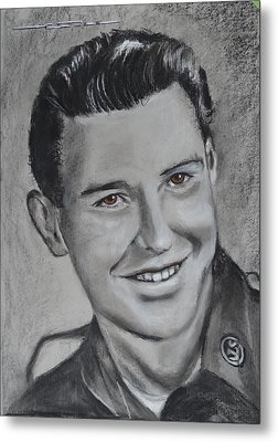 Metal Print featuring the drawing Duane 'red' Loban by Eric Dee