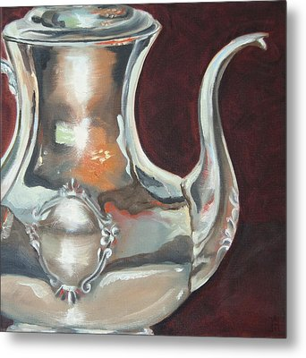 Holly's Sterling Coffee Pot Metal Print by Amy Higgins