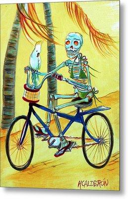 Hollywood Bicycle Woman Metal Print