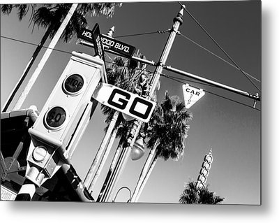 Hollywood Blvd Bw Metal Print
