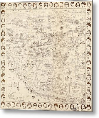 Hollywood Map To The Stars 1937 Metal Print