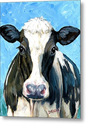 Holstein Cow 1 Head And Chest Metal Print by Dottie Dracos