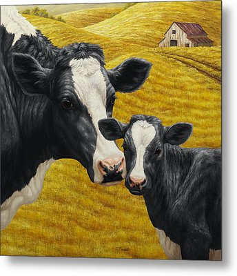 Holstein Cow And Calf Farm Metal Print