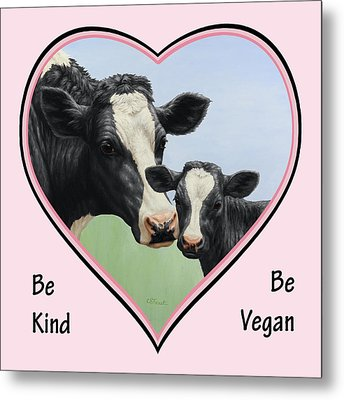 Holstein Cow And Calf Pink Heart Vegan Metal Print by Crista Forest