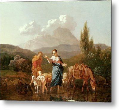 Holy Family At A Stream Metal Print
