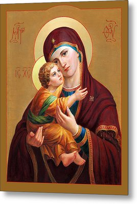 Metal Print featuring the painting Holy Mother Of God - Blessed Virgin Mary by Svitozar Nenyuk