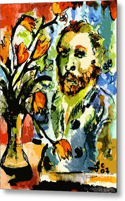 Homage To Vangogh Tulips And Portrait Metal Print by Ginette Callaway