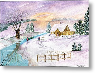 Metal Print featuring the painting Home For Christmas by Melly Terpening