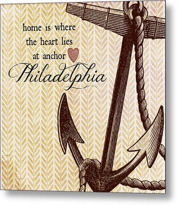 Home Is Philadelphia Anchor 1 Metal Print