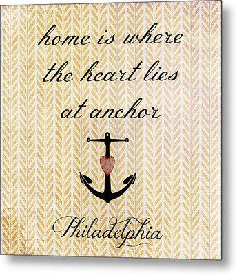 Home Is Philadelphia Anchor 2 Metal Print