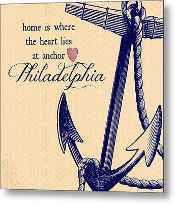 Home Is Philadelphia Anchor 3 Metal Print