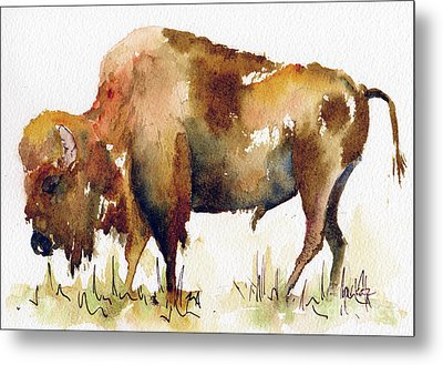 Metal Print featuring the painting Home On The Range Buffalo by Pat Katz
