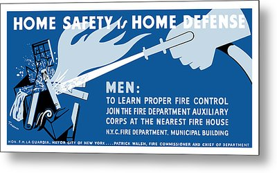 Metal Print featuring the painting Home Safety Is Home Defense by War Is Hell Store