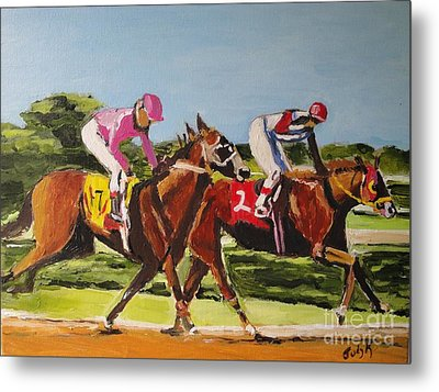 Metal Print featuring the painting Home Stretch by Judy Kay