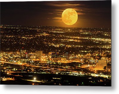 Home Sweet Hometown Bathed In The Glow Of The Super Moon  Metal Print