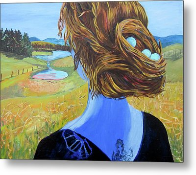 Metal Print featuring the painting Home With Nest In Hair by Tilly Strauss