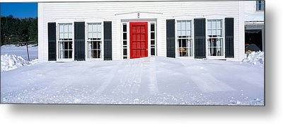Homes In Winter Snow, Woodstock, Vermont Metal Print