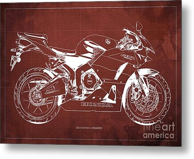 Honda Cbr600rr 2013 Blueprint, Red Vintage Background Metal Print by Pablo Franchi