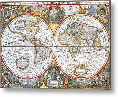 Hondius World Map, 1630 Metal Print by Photo Researchers