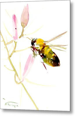 Honey Bee And Pink Flower Metal Print