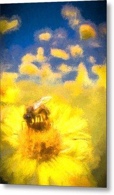Honey Bee Mountain Daisy Impressionism Study 2 Metal Print