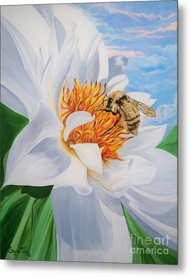 Metal Print featuring the painting Honey Bee On White Flower by Sigrid Tune