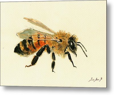 Honey Bee Painting Metal Print by Juan  Bosco