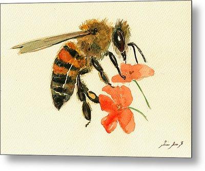Honey Bee Watercolor Painting Metal Print by Juan  Bosco