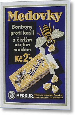 Honey-flavoured Cough Sweets In The Form Of Bees. Colour Lithograph, Ca. 1900. Metal Print