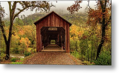 Metal Print featuring the photograph Honey Run Covered Bridge In Autumn by James Eddy
