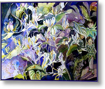 Honeysuckle Fairies Metal Print by Mindy Newman