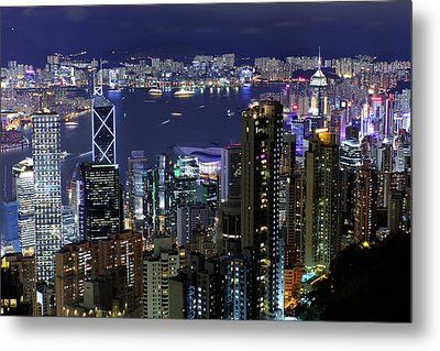 Hong Kong At Night Metal Print by Leung Cho Pan