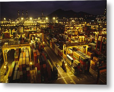 Hong Kong Container Terminal, One Metal Print by Justin Guariglia
