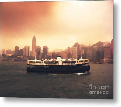Hong Kong Harbour 01 Metal Print by Pixel  Chimp