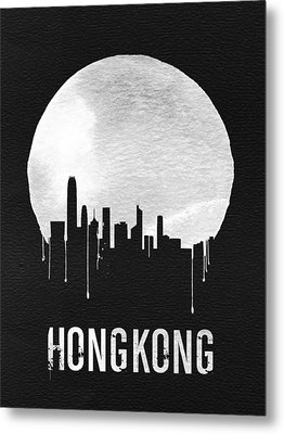 Hong Kong Skyline Black Metal Print by Naxart Studio