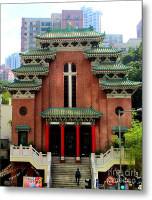 Metal Print featuring the photograph Hong Kong Temple by Randall Weidner