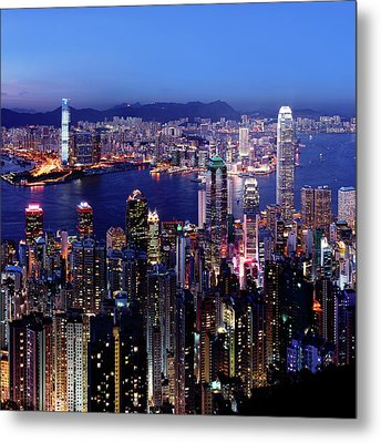 Hong Kong Victoria Harbor At Night Metal Print by Sam