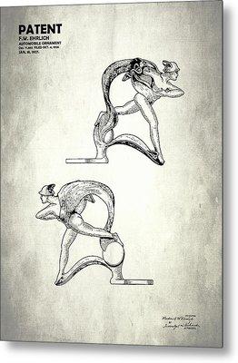 Hood Ornament Patent 1927 Metal Print by Mark Rogan