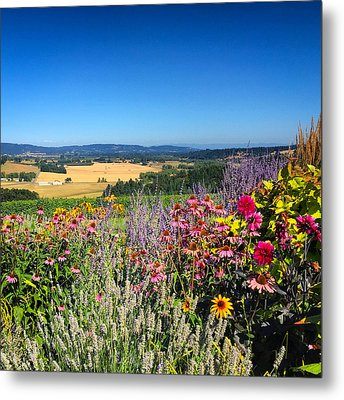 Hood River Valley Flowers Metal Print by Brian Governale