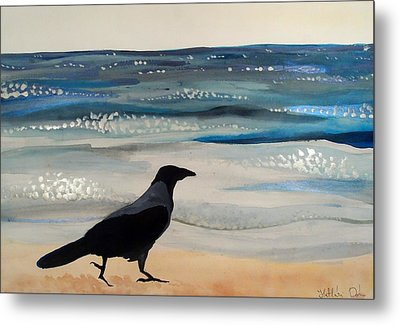 Hooded Crow At The Black Sea By Dora Hathazi Mendes Metal Print by Dora Hathazi Mendes
