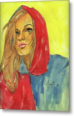 Metal Print featuring the painting Hoody by P J Lewis