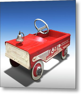 Metal Print featuring the photograph Hook And Ladder Peddle Car by Mike McGlothlen
